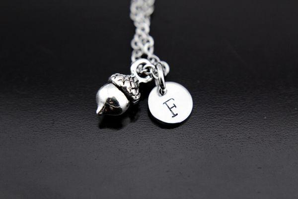 Silver Acorn Charm Necklace