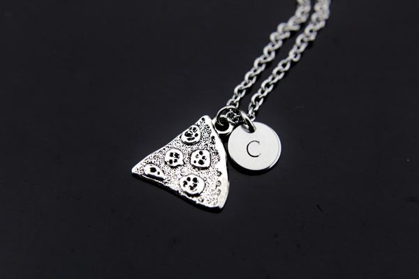 Silver Pizza Charm Necklace