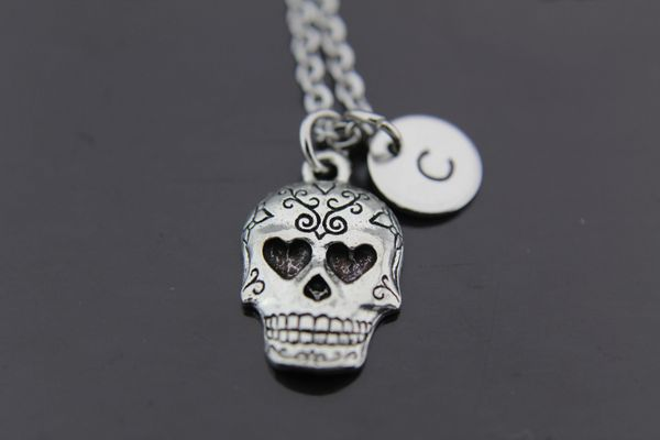 Silver Sugar Skull Charm Necklace