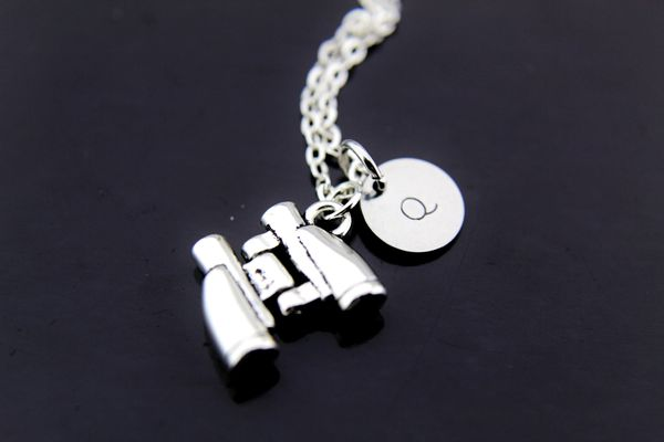Silver Binocular Charm Necklace