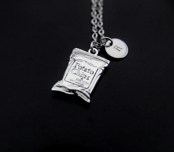 Silver Potato Chip Charm Necklace