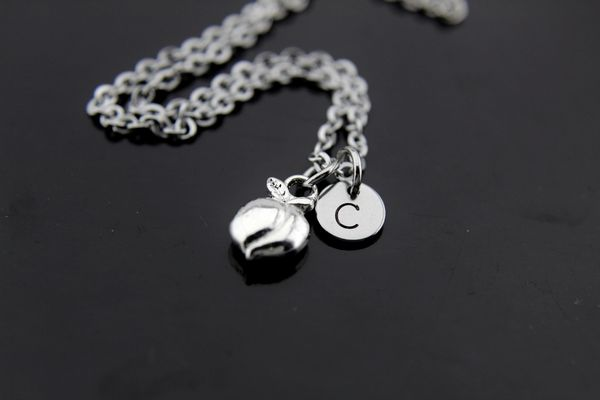 Silver Peach Fruit Charm Necklace