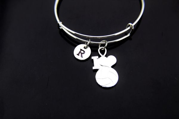 Silver I Love Volleyball Charm Bracelet