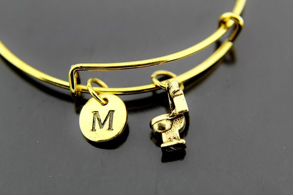 Gold Toilet Charm Bracelet