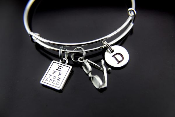 Silver Reading Glasses Eye Chart Charm Bracelet