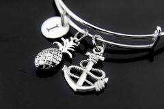 Silver Anchor Pineapple Charm Bracelet