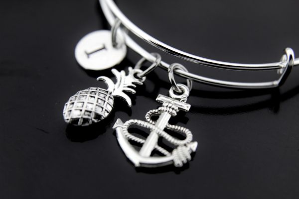 Silver Anchor Pineapple Charm Bracelet