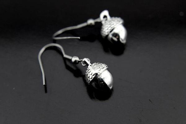 Silver Acorn Charm Dangle Earrings