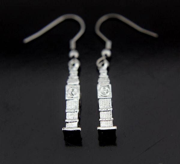 Silver Eiffel Tower Charm Dangle Earrings