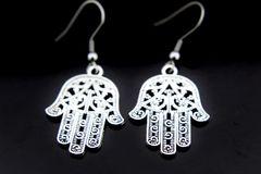 Silver Hamsa Hand Charm Dangle Earrings
