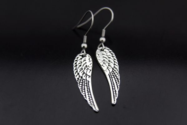 Silver Guardian Angel Wing Charm Dangle Earrings