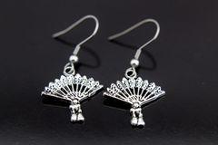 Silver Fan Charm Dangle Earrings