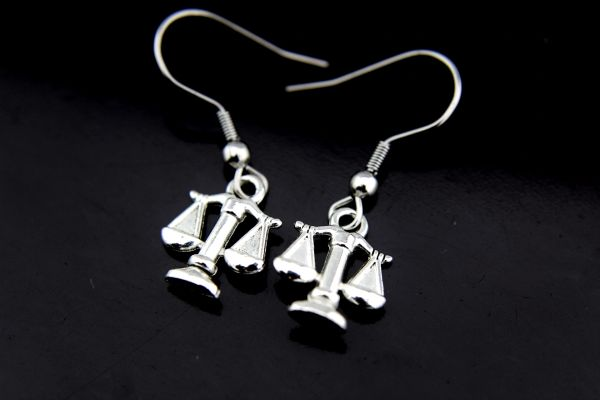 Silver Scale of Justice Charm Dangle Earrings