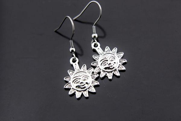 Silver Sun Charm Dangle Earrings