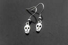 Silver Skull Charm Dangle Earrings