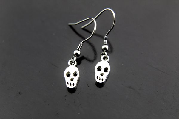 Silver Skull Charm Dangle Earrings