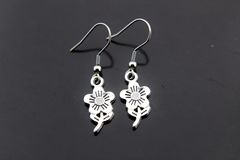 Silver Daisy Charm Dangle Earrings