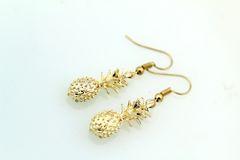 Gold Pineapple Charm Dangle Earrings