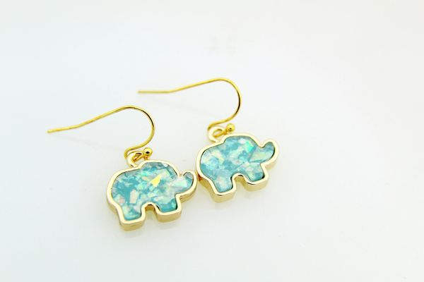Gold Elephant Charm Dangle Earrings