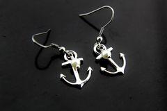 Silver Pearl Anchor Charm Dangle Earrings