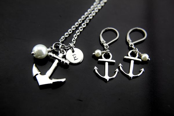 Silver Pearl Anchor Charm Necklace set Dangle Earrings