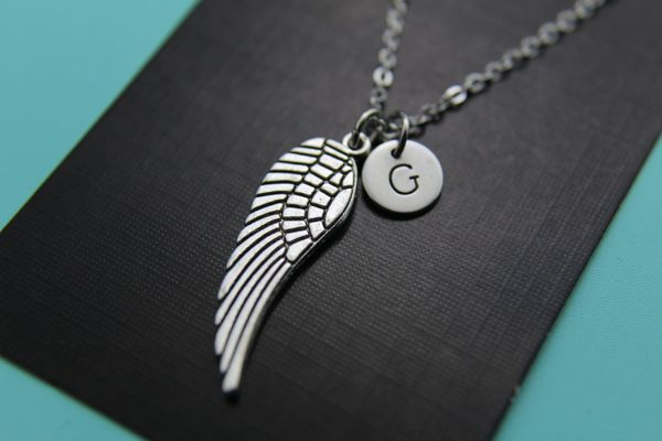 Silver Guardian Angel Wing Charm Necklace