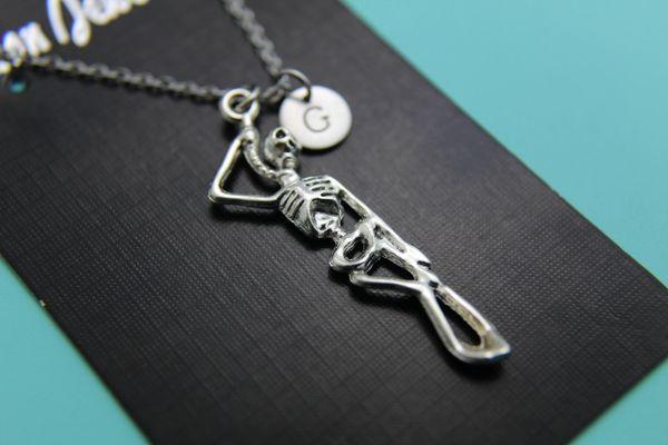 Silver Hangman Skeleton Charm Necklace