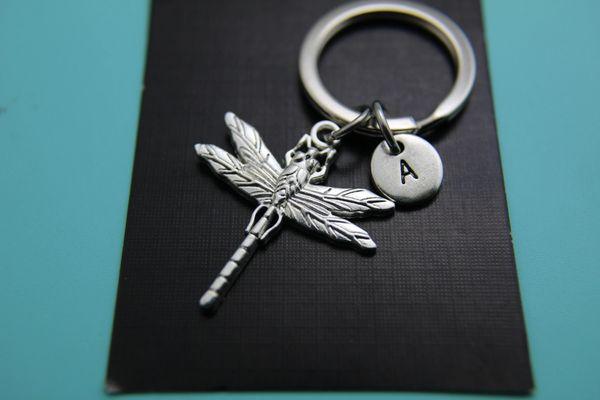 Silver Dragonfly Charm Keychain