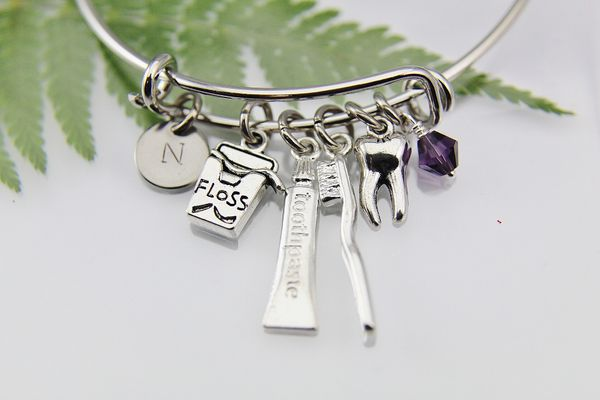 Dentist Bangle, Dental Hygienist Gift, Dental Assistant Gift, Orthodontist Gift, Floss Charm, Toothbrush Toothpaste Charm, Tooth Charm