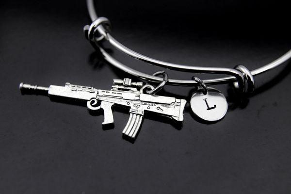 Rifle Bangle, Rifle Bracelet, Rifle Charm, Gun Charm, Assault Rifle Charm, Machine Gun Charm, Military Wife Mom Gift, Personalized Gift