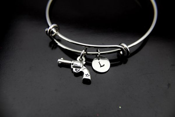 Revolver Bracelet, Revolver Bangle, Revolver Charm, Handgun Charm, Piston Charm, Police Wife Gift, Personalized Gift, Best Friend Gift