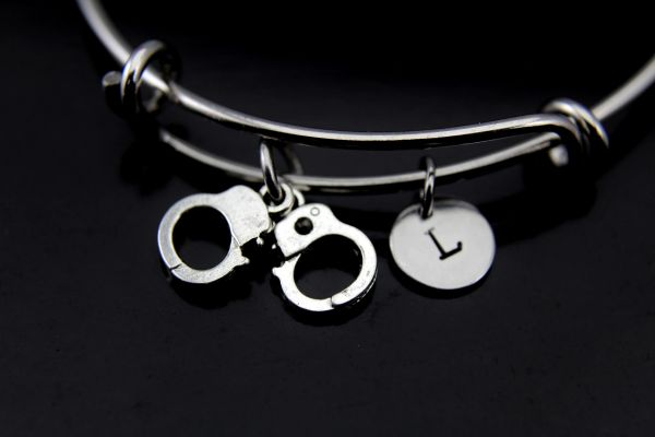Handcuffs Bracelet, Handcuffs Bangle, Handcuffs Charm, Handgun Charm, Piston Charm, Police Wife Gift, Personalized Gift, Best Friend Gift