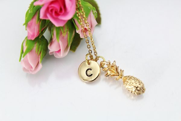 Gold Pineapple Necklace Pineapple Charm Personalized Gifts