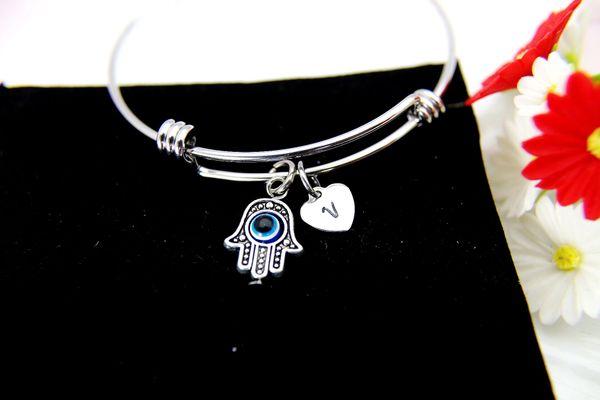 Hamsa Blue Evil Eye Charm Bangle, Hamsa Blue Evil Eye Charm Bracelet, B102