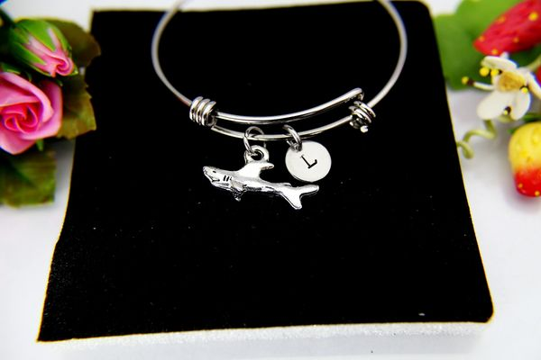 Silver Shark Charm Bracelet, B112