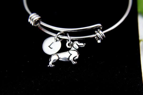 Silver Dachshund Charm Bracelet, B113