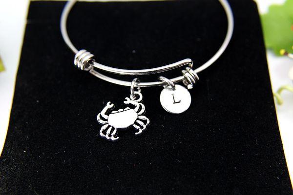 Silver Crab Charm Bracelet, B115