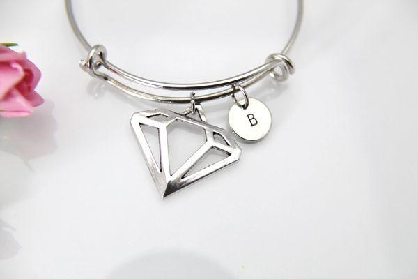 Silver Diamond Charm Bracelet, B126