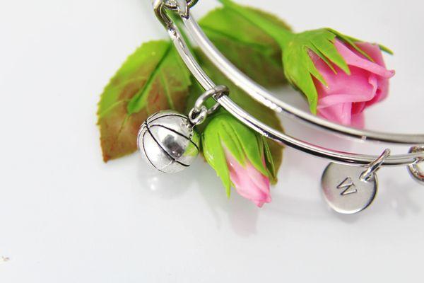 Silver Basketball Charm Bracelet, B133