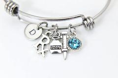 Silver Rx Charm Syringe Charm Bracelet, B144
