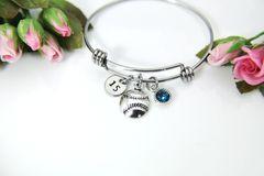 Silver Softball Baseball Charm Bracelet, Personalized Bracelet, B147