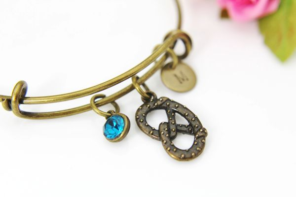 Bronze Pretzel Charm Bracelet, Personalized Bracelet