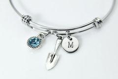 Silver Shovel Charm Bracelet, Personalized Bracelet