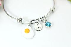 Silver Fry Egg Charm Bracelet, Personalized Bracelet