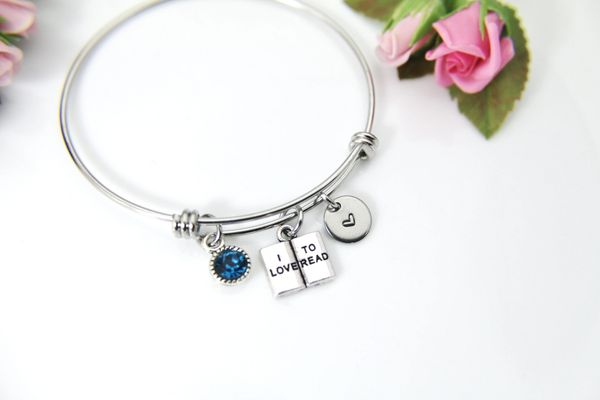 Silver I Love To Read Charm Bracelet, Personalized Bracelet