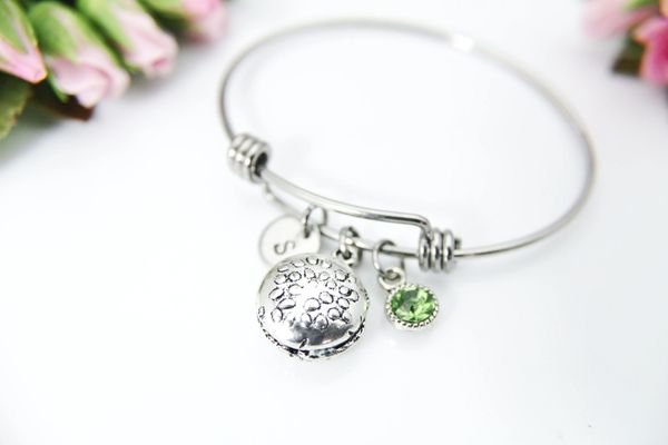 Silver Hamburger Charm Bracelet, Personalized Initial Bracelet