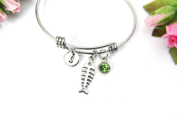 Silver Fishbone Charm Bracelet, Personalized Initial Bracelet