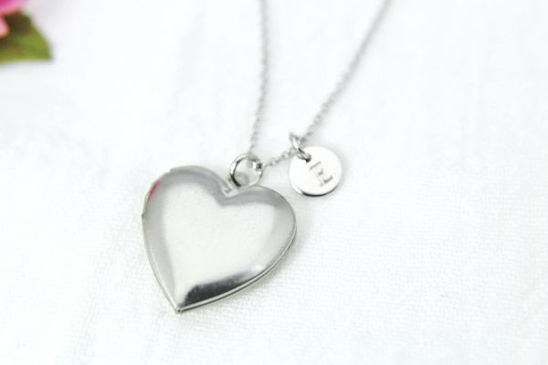 Silver Heart Locket Necklace, Dainty Necklace, Personalized Gift