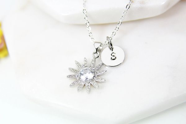Silver Sunflower Necklace, Dainty Necklace, Personalized Gift