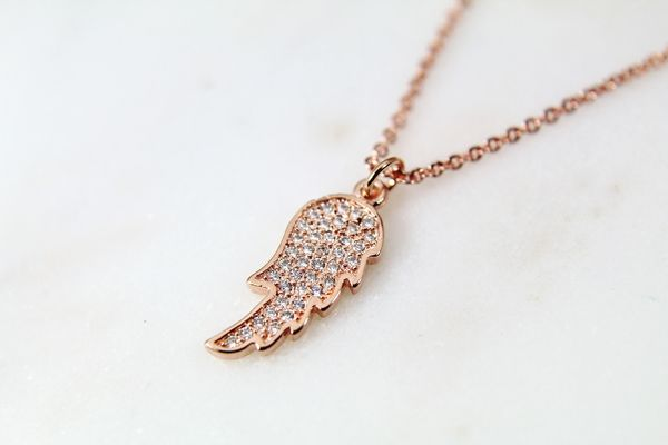 Rose Gold Guardian Angel Necklace, Dainty Delicate Necklace, Personalized Gift